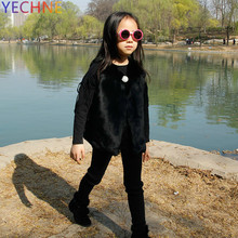 2018 Children #8217 s Clothing Girl Winter Jackets Children #8217 s Rabbit Fur Coats Autumn And Winter Baby Thick Warm Plush Outerwear cheap YECHNE zipper Patchwork Fur REGULAR Slim Long Full With Fur Hood Thick (Winter) Solid England Style Fur Strip Sewed Toghter