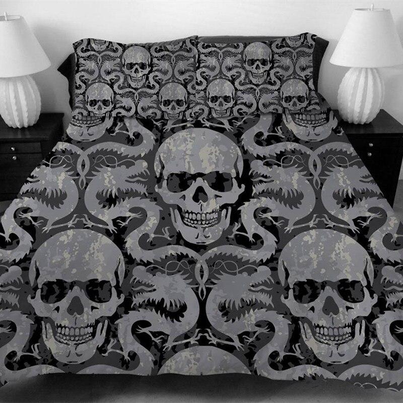 Fanaijia череп duvet бухты для king Размеры кровать Европа Стиль 3D сахарный череп Постельное белье с наволочкой AU Queen кровать bedline