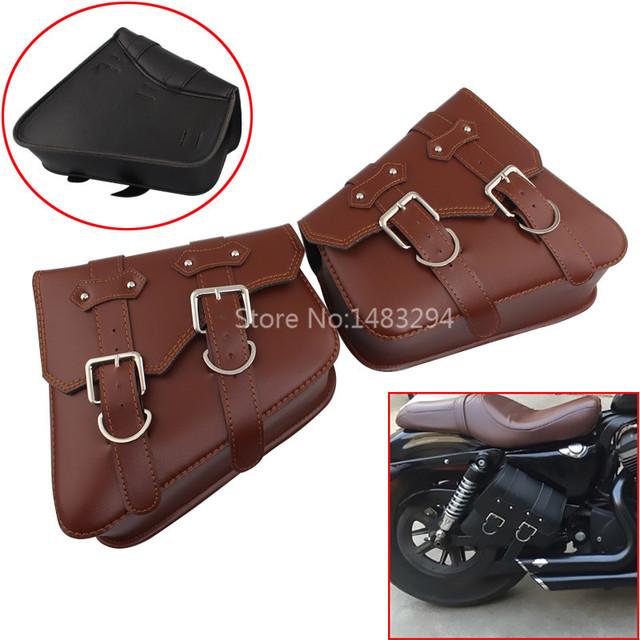 Motorcycle Brown PU Saddle Swingarm Side Bag Fit For Harley XL Sportster 1200 883