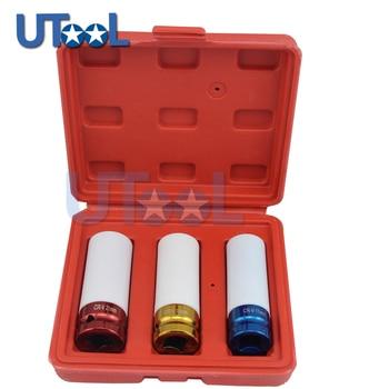 цена на 3Pcs 1/2 Inch Dr Alloy Wheel Deep Impact Lug Nut Socket Set 17mm 19mm 21mm Auto Repair Tools