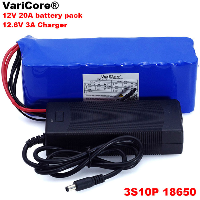 VariCore 12V 20Ah 18650 Lithium Battery Pack 11.1v 12.6v 20000mah Capacity Miners Lamp 800W High power Batteries+3A Charger