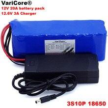 Varicore bateria de lítio de 12v 20ah 18650, 11.1v 12.6v 20000mah capacidade miner lâmpada 800w baterias de alta potência + carregador 3a