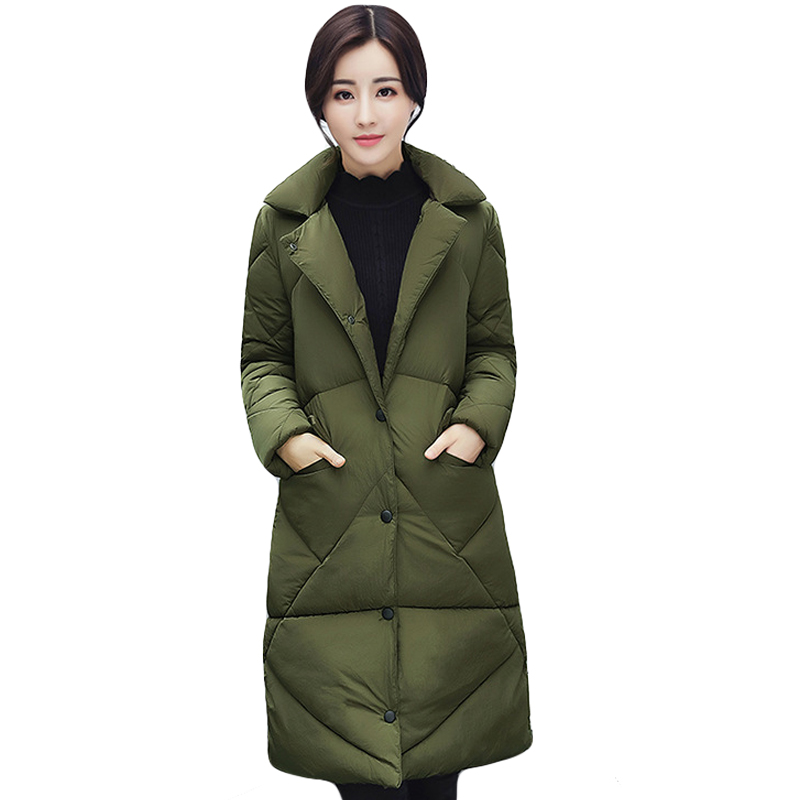 New Style 2017 Women Winter Coat Fashion Long Loose Down Cotton Coat Parkas Thick Warm Suit Collar Female Wadded Jackets CM1422 abner 2017 new winter loose long coat fashion women down cotton female warm parkas overcoat good quality free shipping