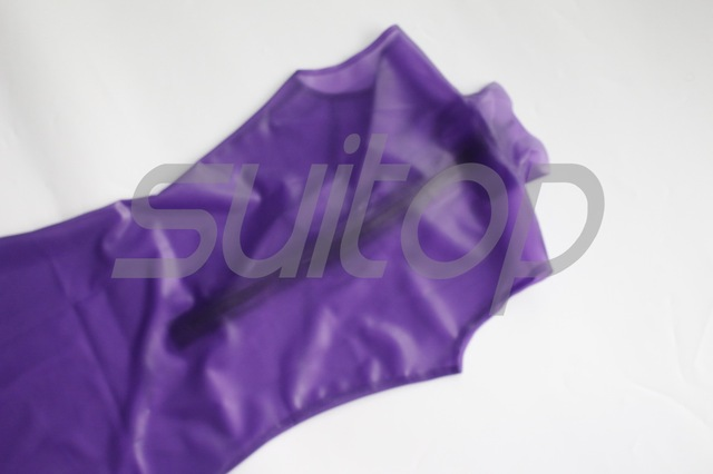 women's rubber dresses trasparent purple latex clear front zip