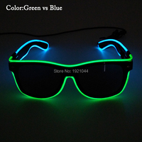 Wholesale 2019 Newest Fashion EL Wire Glowing Glasses with dark lens Cold Neon Glasses 30 pieces Party DIY Decor