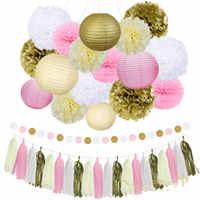 Nicro 22Pcs Mixed Gold Pink Ivory White Lantern Flower Tassel hanging DIY Baptism Birthday Wedding Party Decorations #Set02