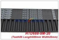 2 قطعة HTD8M حزام 688 8 متر 20 الأسنان = 86 طول = 688 مللي متر العرض = 20 مللي متر 8 متر مؤقت اشتعال المطاط مغلق حلقة حزام 688-8 متر S8M توقيت بكرة