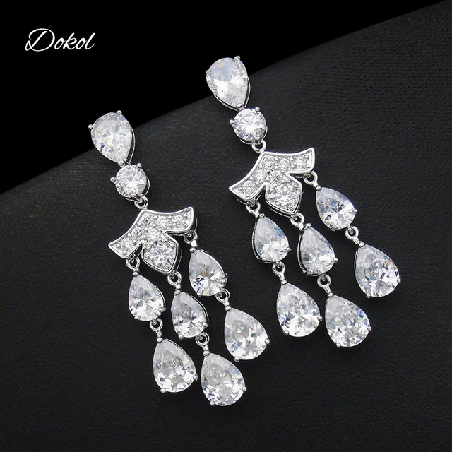 745e79ce98e623 DOKOL Luxury Cubic Zirconia Chandelier Earrings Halo Style Silver Color  Tear Drop Earring Jewelry Bridesmaids DKE0142