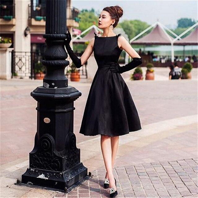 e2281ba69a18 7XL Plus Size Hepburn High Customized Black Midi Length Sleeveless Slash  Neck Vintage Ball Gown Women Summer Party Dresses