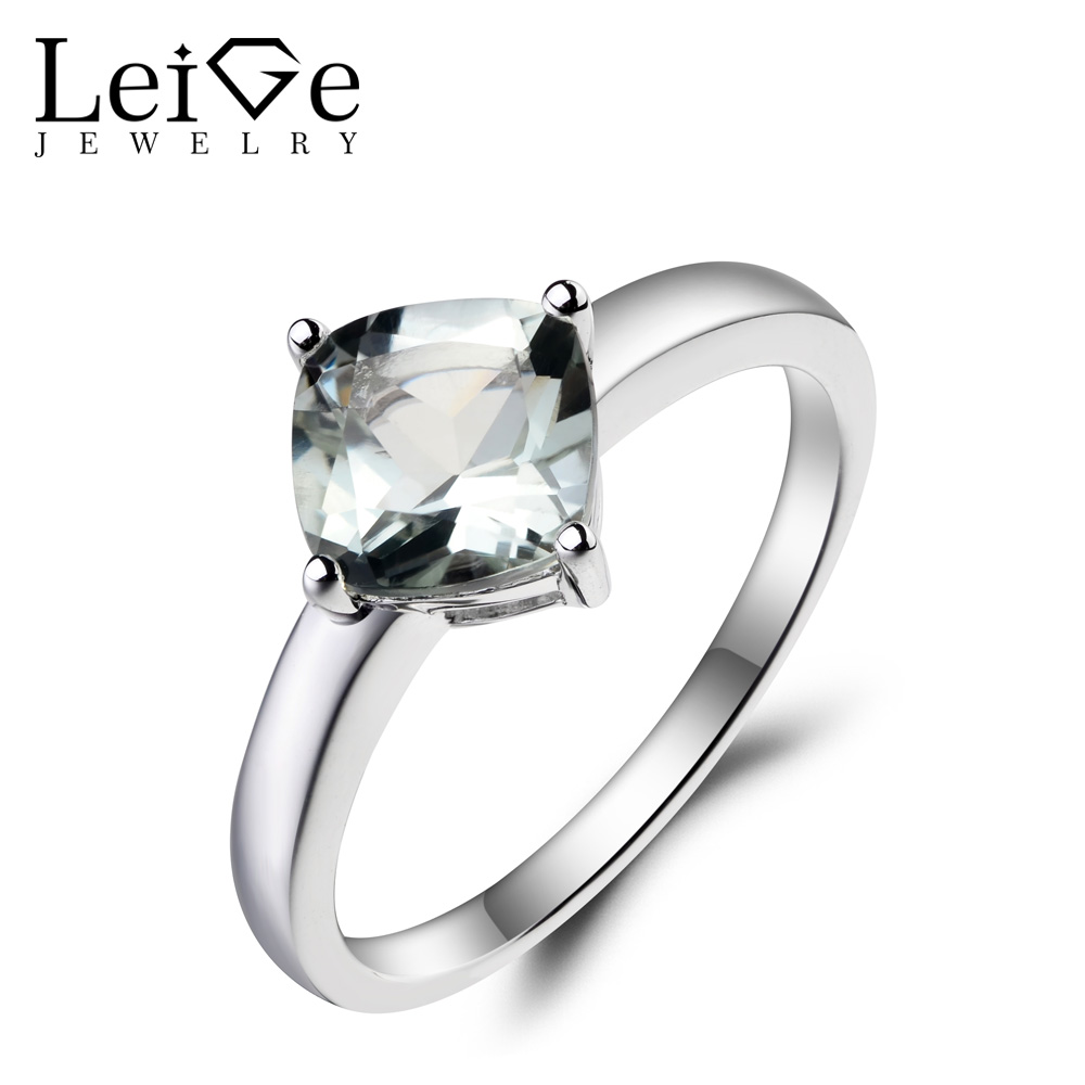 Leige Jewelry Real Natural Green Amethyst Ring Cocktail Party Ring Cushion Cut Green Gemstone 925 Sterling Silver Solitaire Ring leige jewelry solitaire ring natural green amethyst ring round cut wedding ring gemstone 925 sterling silver ring gift for women