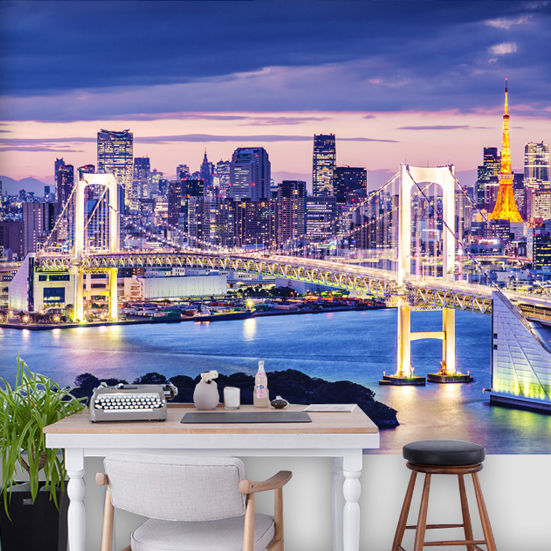 Custom 3D Mural Wallpaper Modern City Night View Bedroom Living Room Sofa TV Background Wall Home Decor Designs Photo Wall Paper continental bar chairs rotating chair lift back bar stool reception tall silver beauty makeup chair