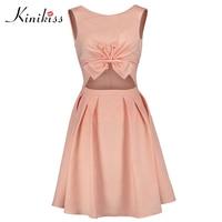 Kinikiss A-line Sweet Hollow Out Dress Women Pink Bowknot Snail Patchwork Dresses Sleeveless Vest High Waist Elegant Dress