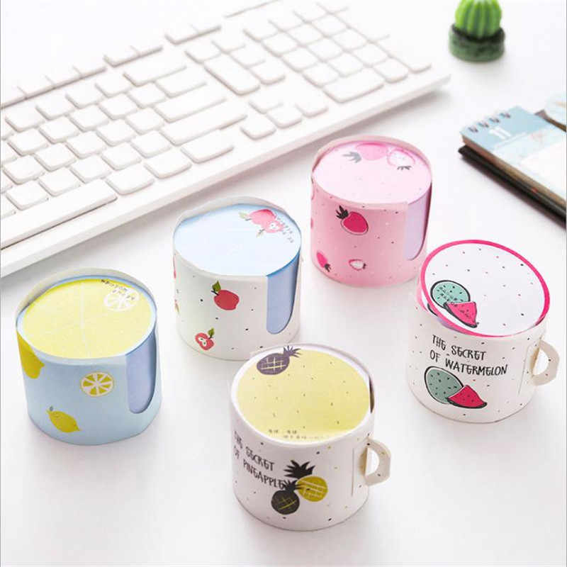 Coloffice Kawaii Paper Fruit Pattern Cup Shape Memo pads Student stationary For Girls Office&School Supplies 6*5cm 1 Piece