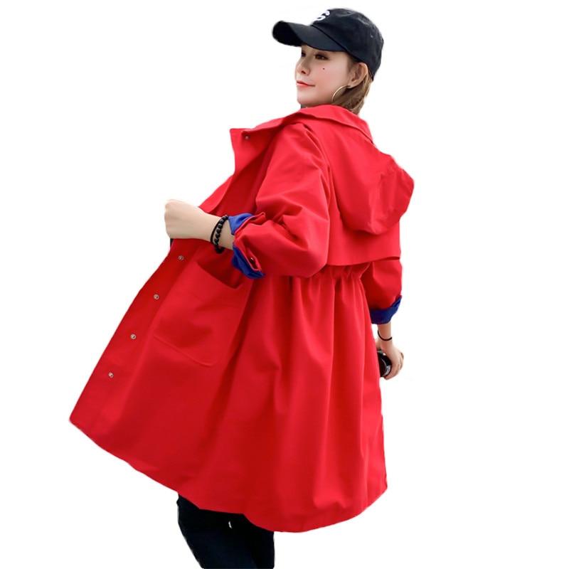 2019 Spring Women's Long   Trench   Coat Fashion Hooded Student Outerwear Plus size Slim Female Windbreaker Coat Autumn X605
