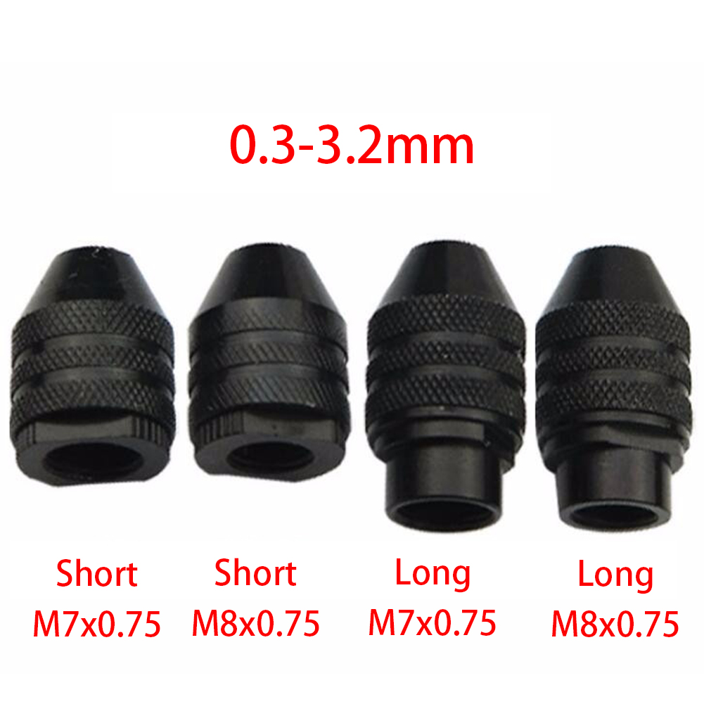 Mini 0.3-3.2mm Multi Keyless Aluminium Drill Chuck Collet For Dremel Grinder Shaft Rotary Tool Accessories Cap M8x0.75 M7x0.75