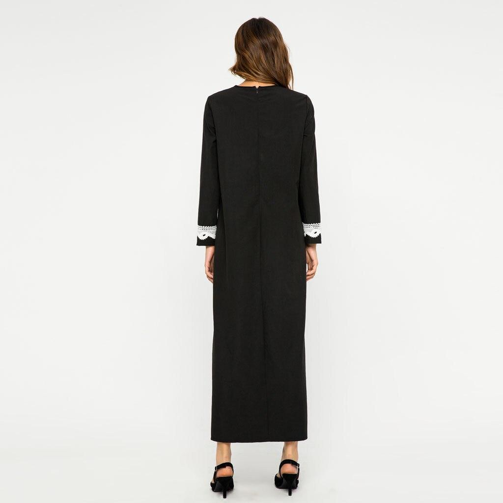 Muslim Women Long sleeve Dubai lace Dress Moroccan Lace Splice Abaya Islamic Muslim Kaftan Dress Turkish Long Dresses 4.11