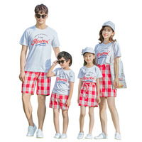 Summer Family Look Button Red Plaid Mother Daughter Seaside Beach Dress Family Matching Clothes Father And Son Casual T shirt