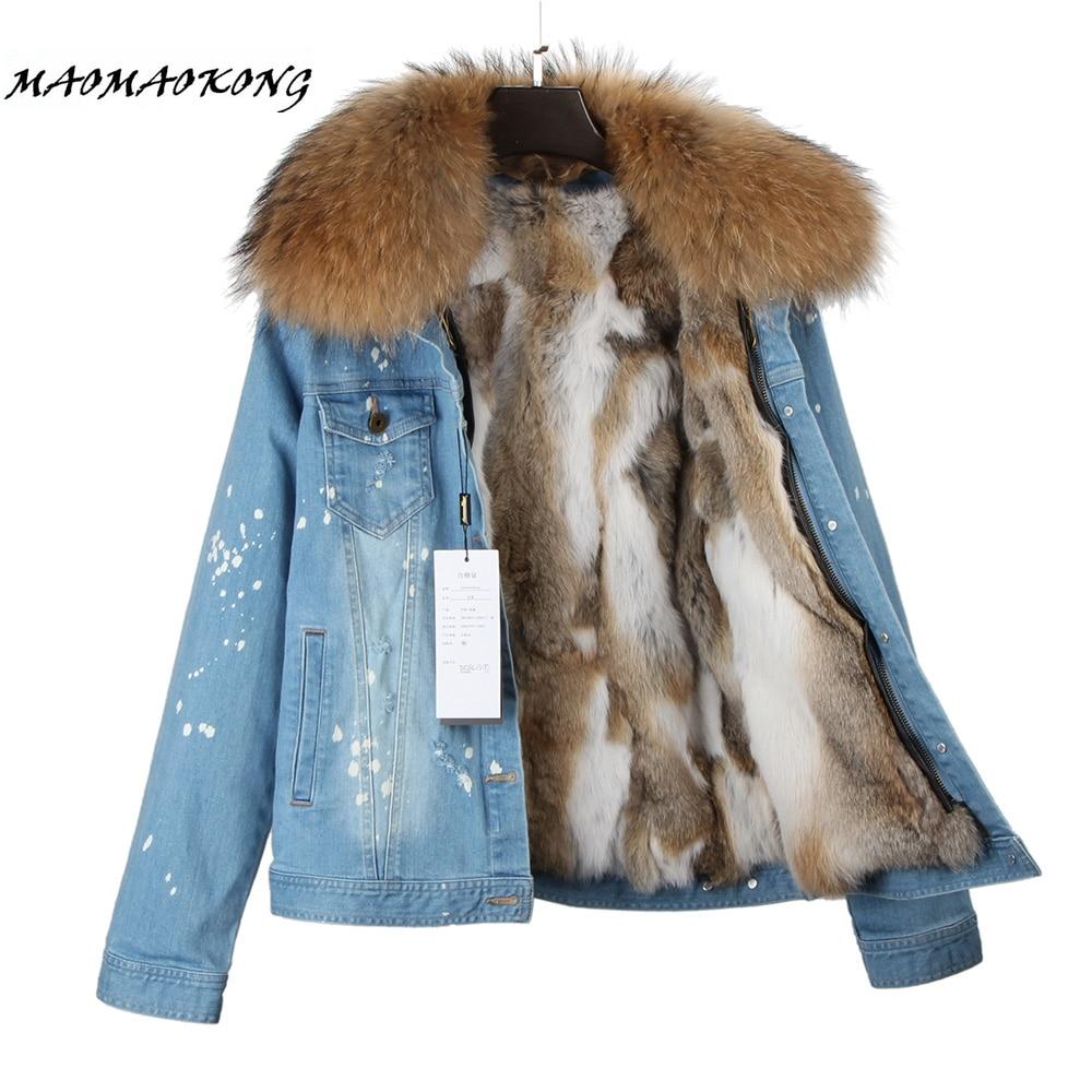 Новинка 2017, модное Брендовое женское джинсовое пальто, джинсовая куртка для девочек, куртка бомбер с натуральным кроличьим мехом на толстой