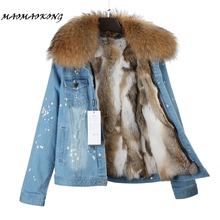 Denim Jacket Real-Rabbit-Fur Women Girl Thick Lining Raccoon Fur-Collar Keep-Warm Fashion-Brand