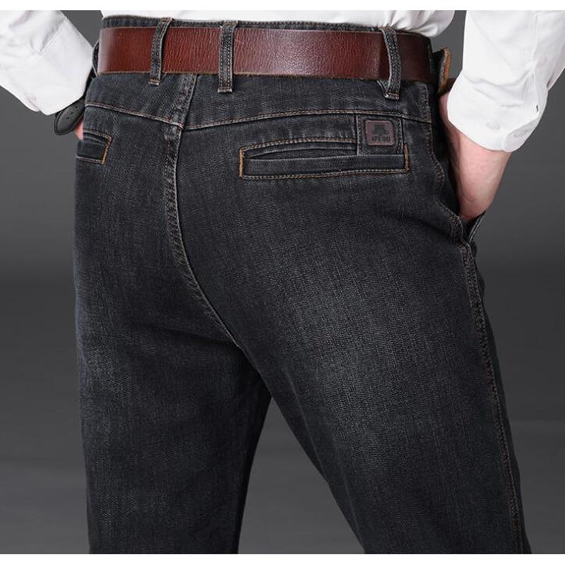 Big Size Jeans Autumn Winter Men's Waistline Leisure Jeans Men Straight Long Denim Trousers Male Fashion Denim Bottoms SHIERXI