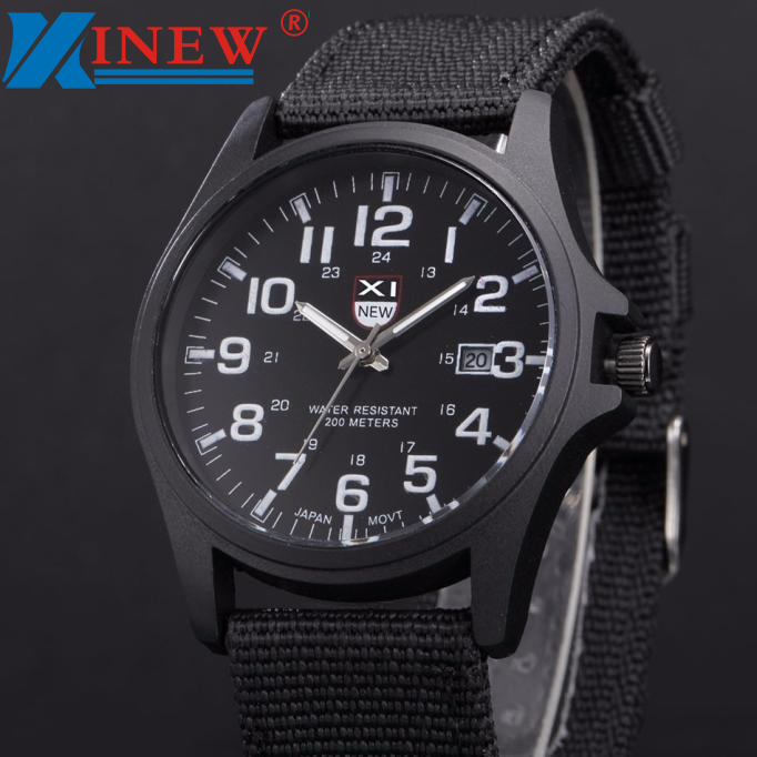 Splendid XINEW 2017 mens army watches Date Stainless Steel Military Sports Analog Quartz Men watch erkek kol saat relogioi stylish ethnic style handpainted flowers pattern multicolor voile scarf for women