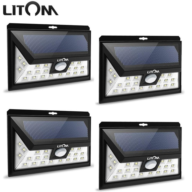 Litom 24 led solar light ip65 waterproof wide angle security motion litom 24 led solar light ip65 waterproof wide angle security motion sensor light with 3 modes workwithnaturefo