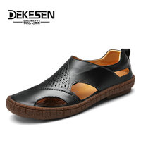 DEKESEN 2018 New Brand Toe Protect Men S Sandals Genuine Leather Soft Sole Casual Shoes For