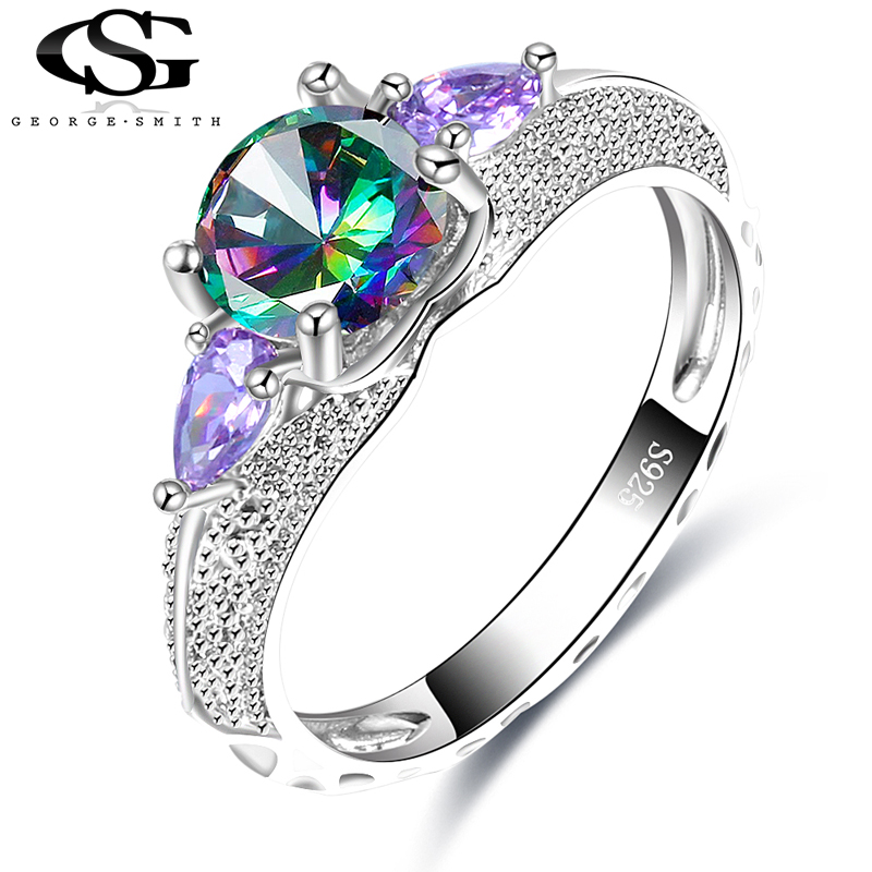 Fashion Jewelry Rainbow-Rings Engagement-Ring Wedding Silver-Color Purple Women Glass