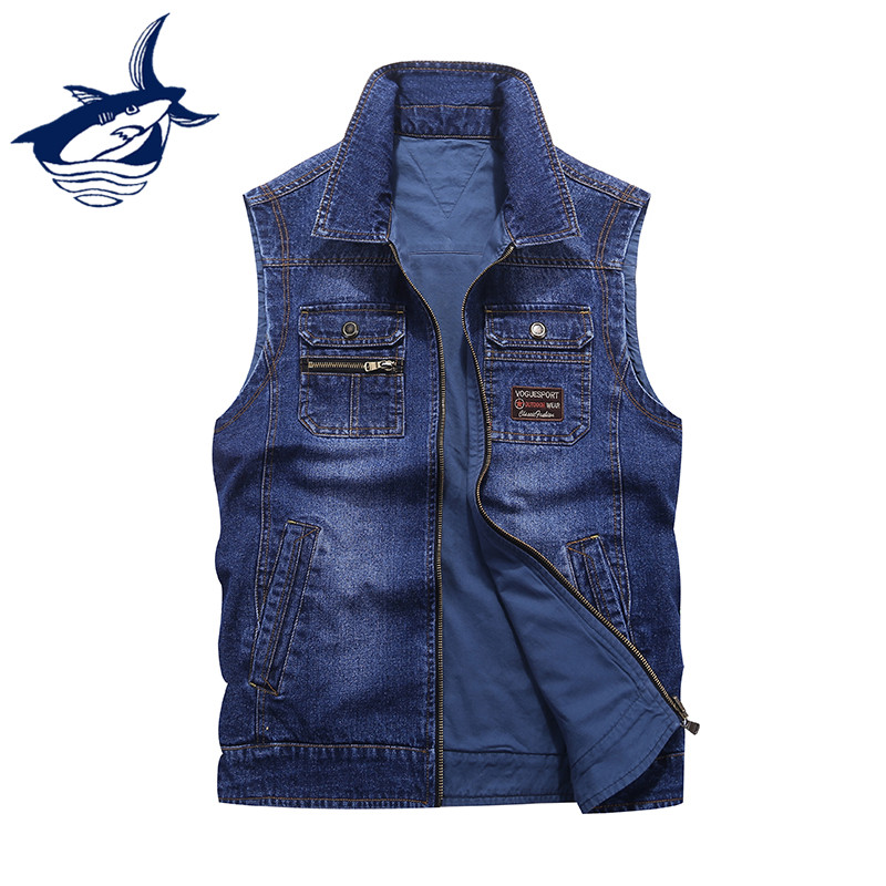 New Fashion Cowboy Streetwear Reversible Denim Vests Men Brand Tace & Shark Vest Zipper Jeans Sleeveless Jacket colete masculino-in Vests & Waistcoats from Men's Clothing    1