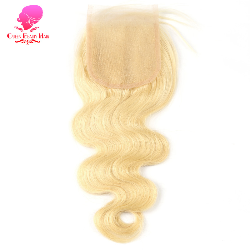QUEEN BEAUTY 613 Blonde Brazilian Lace Closure Body Wave Remy Human Hair Closure Free Middle Part