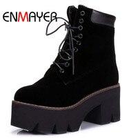 ENMAYER Arrival Autumn Boots Winter Ladies Ankle Boots Women Fashion Boots Lace Up Warm Fur Hot