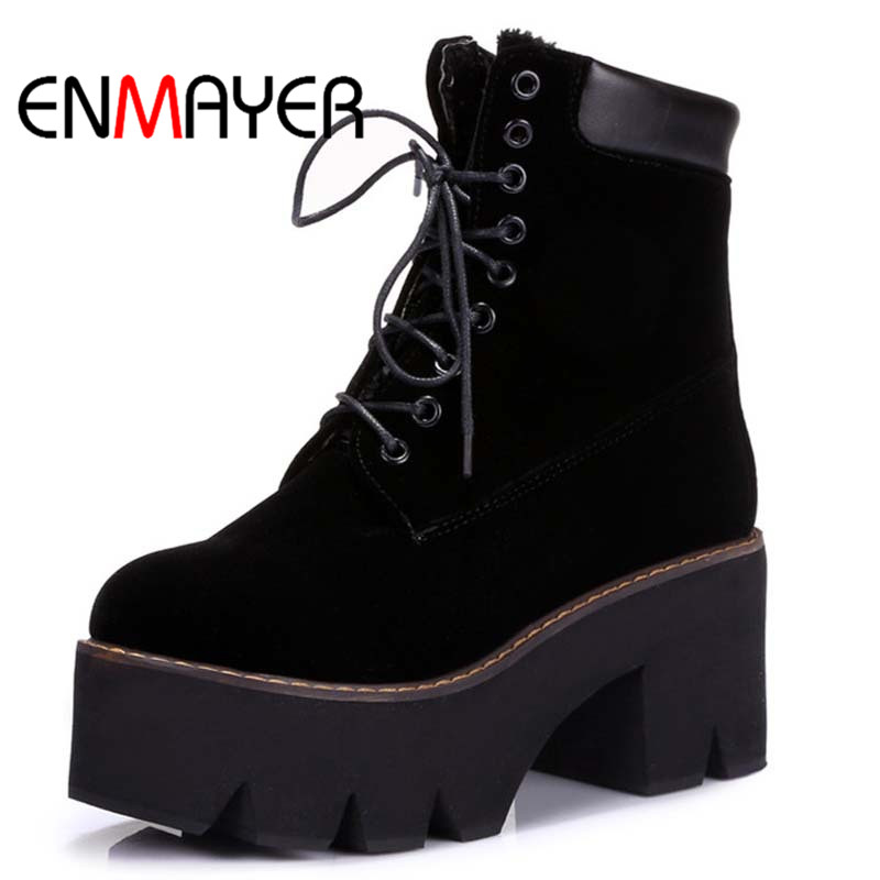 ENMAYER Arrival Autumn Boots Winter Ladies Ankle Boots Women Fashion Boots Lace Up Warm Fur Hot Sale Round Toe Platform Boots