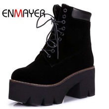 ENMAYER Arrival Autumn Boots Winter Ladies Ankle Women Fashion Lace Up Warm Fur Hot Sale Round Toe Platform