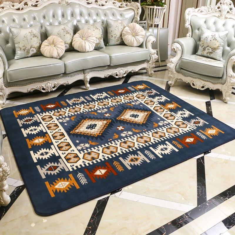 Moderne bleu Style méditerranéen salon tapis de haute qualité corail velours chambre décoration grand tapis Table tapis