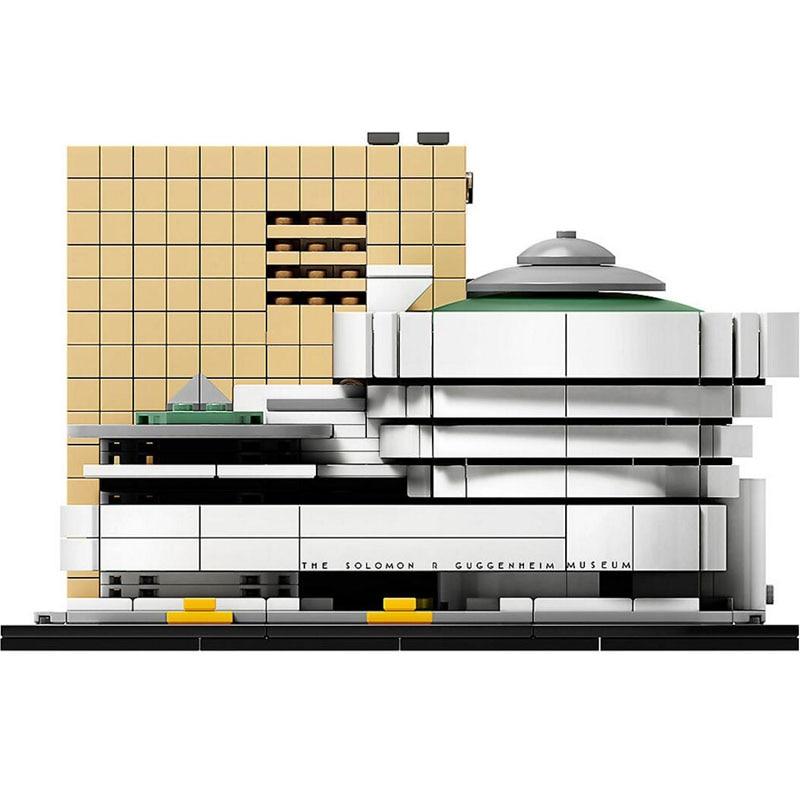 City Architecture Solomon R Guggenheim Museum Model Building Blocks Enlighten Figure Toys For Children Compatible Legoe