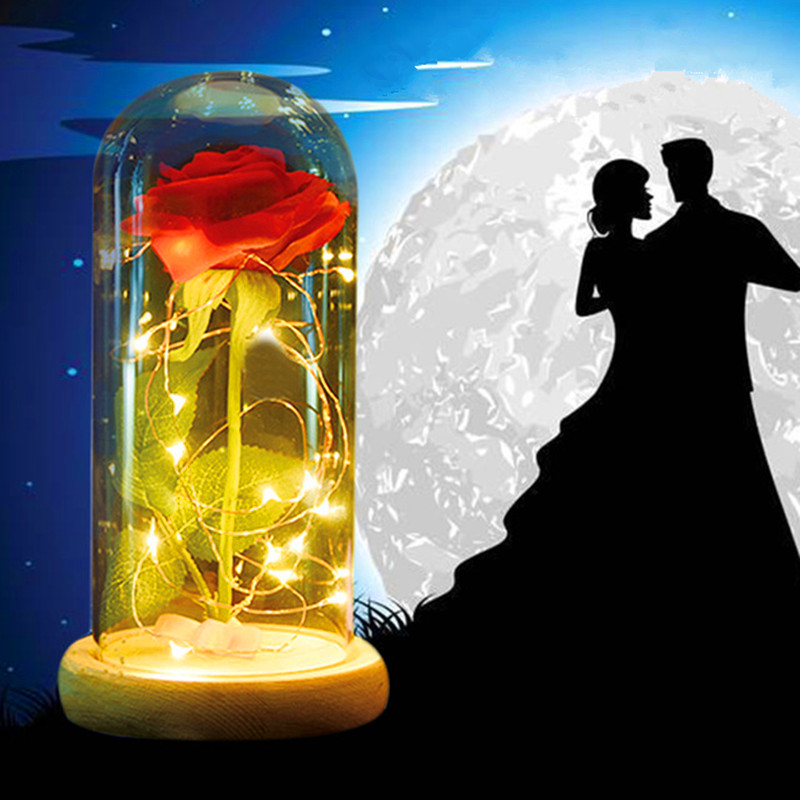 Beauty and the Beast Red Rose in a Glass Dome on a Wooden