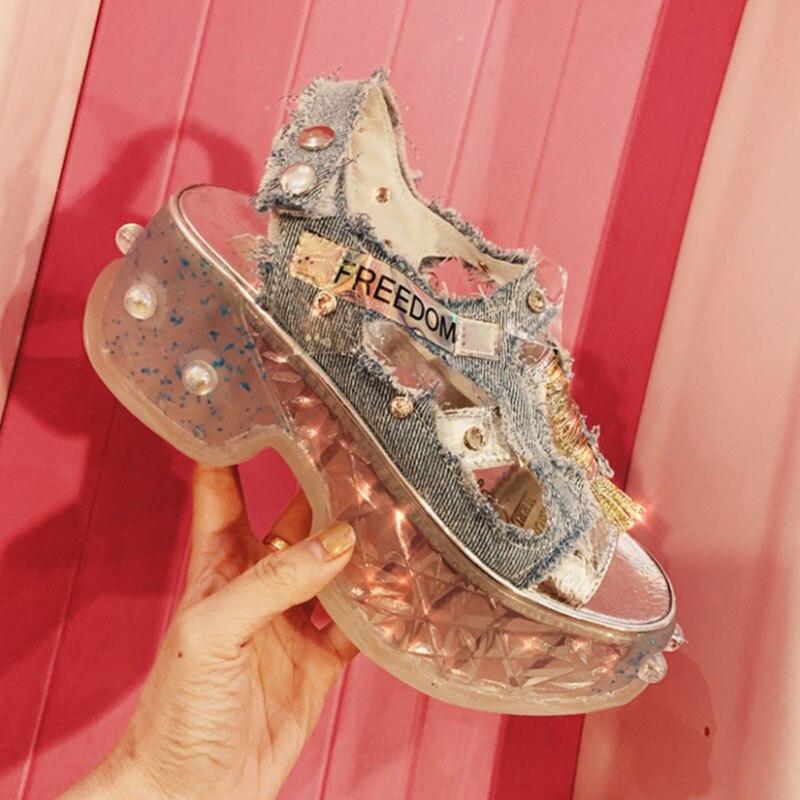 Luxury Designer Bling Rhinestone Wedge Sandals Female 2019 Summer Denim Sneaker Thick-soled Hollow Platform Shoes Sandales