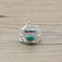 Takahashi Kagura Goro Handmade S925 Sterling Silver Jewelry Retro Thai Silver Feather Turquoise Silver Ring Fashion