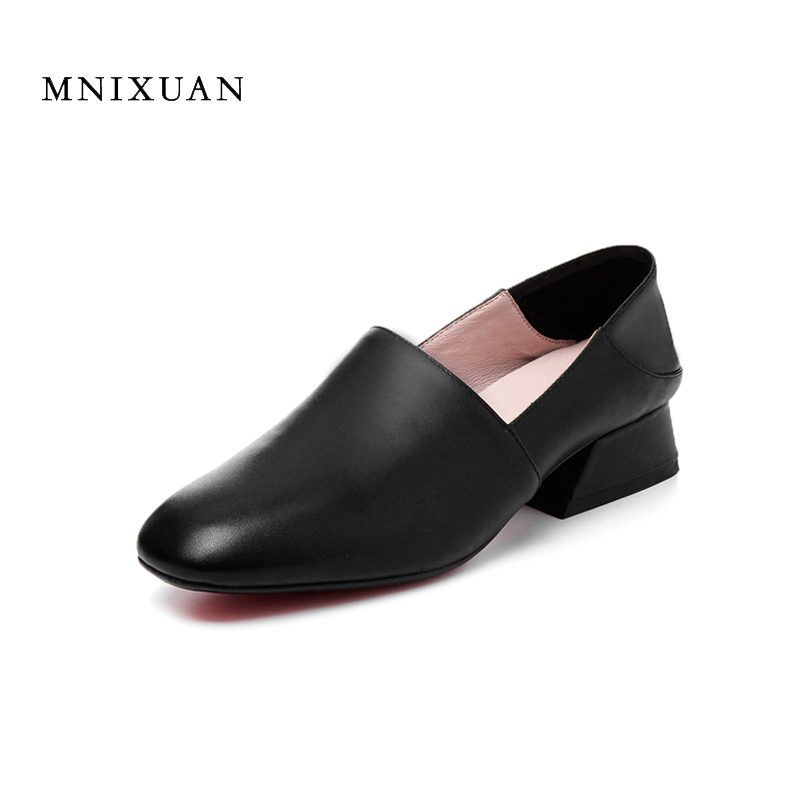 Comfortable women office shoes 2017 summer autumn genuine leather ladies medium heels square toe solid pumps heels big size 42 handmade genuine leather sandals women shoes lady high quality 2017 summer red silvery closed toe medium heels big size 10 41 42