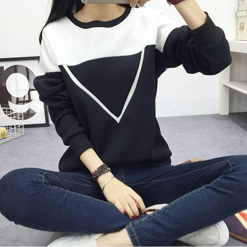 2019 Kış Yeni Moda Siyah ve Beyaz Büyü Renk Patchwork Hoodies - Bayan Giyimi - Fotoğraf 3