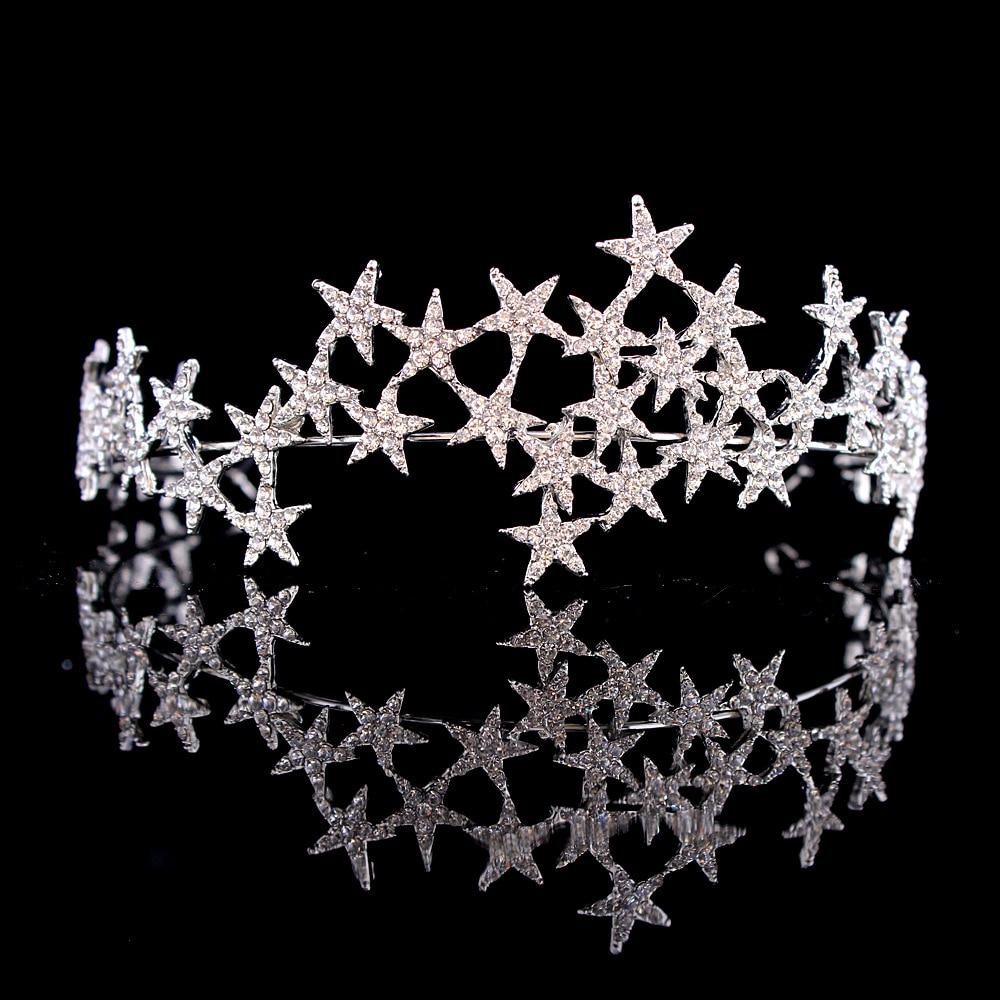 Luxury Handmade Crystal Star Hairbands Vintage Rhinestone Bridal Tiaras Crown Headband Wedding Hair Accessories Tiara De Noiva