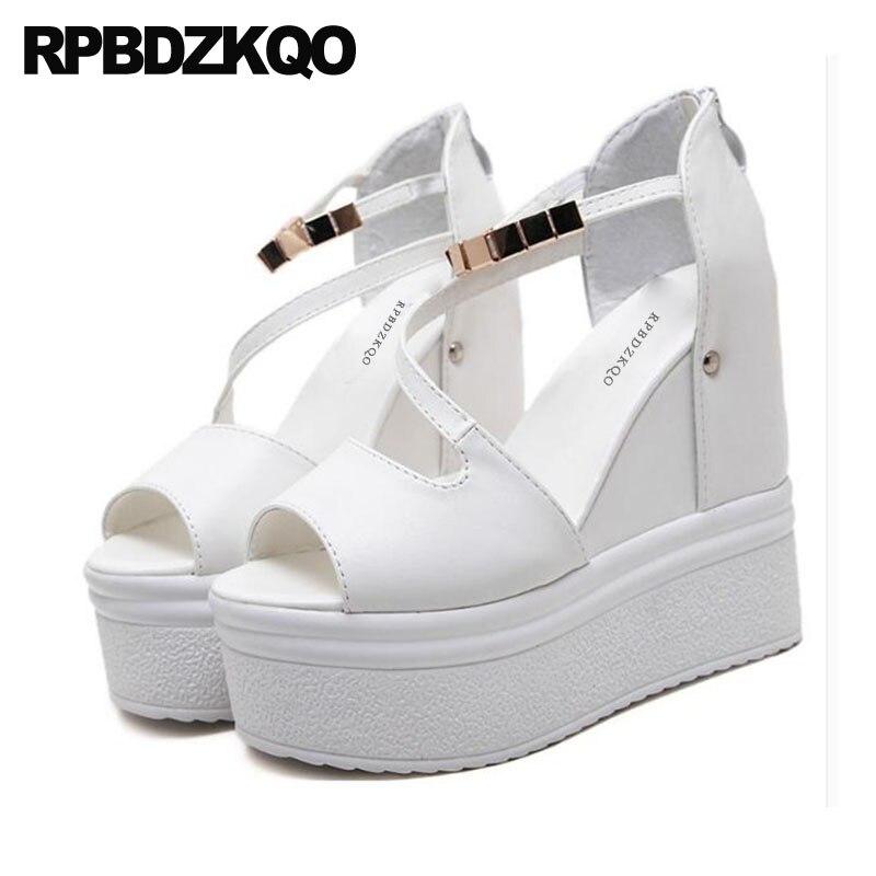 66cba8b0c15 White Exotic Dancer Pumps Ankle Strap High Heels Women Wedge Platform  Sandals Flatform Shoes Fetish Peep Toe Stripper Chain Sexy