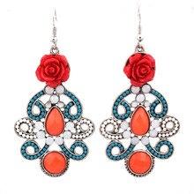 trandy jewelry bohemian earrings handmade flowers  ear pendant European and American big bohemian national wind earrings