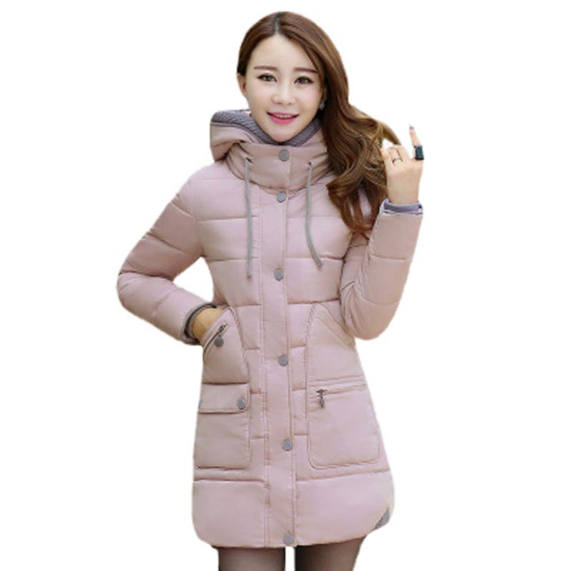 ФОТО New Arrival Female Coat Winter Jacket Hooded Casual Cotton-padded Jacket Long Slim Women Parkas Thick Warm Overcoat PW0430