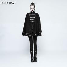 PUNK RAVE Novelty Women Casual Gothic Punk Military Uniform Cloak double-sided worsted fabric Jacket Rock Cosplay Female Jackets