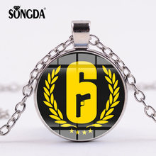 SONGDA Game Tom Clancy's Rainbow Six Siege Necklace 6 Symbol Gun Game Glass Cabochon Silver Pendant Men Cool Jewelry Collection(China)