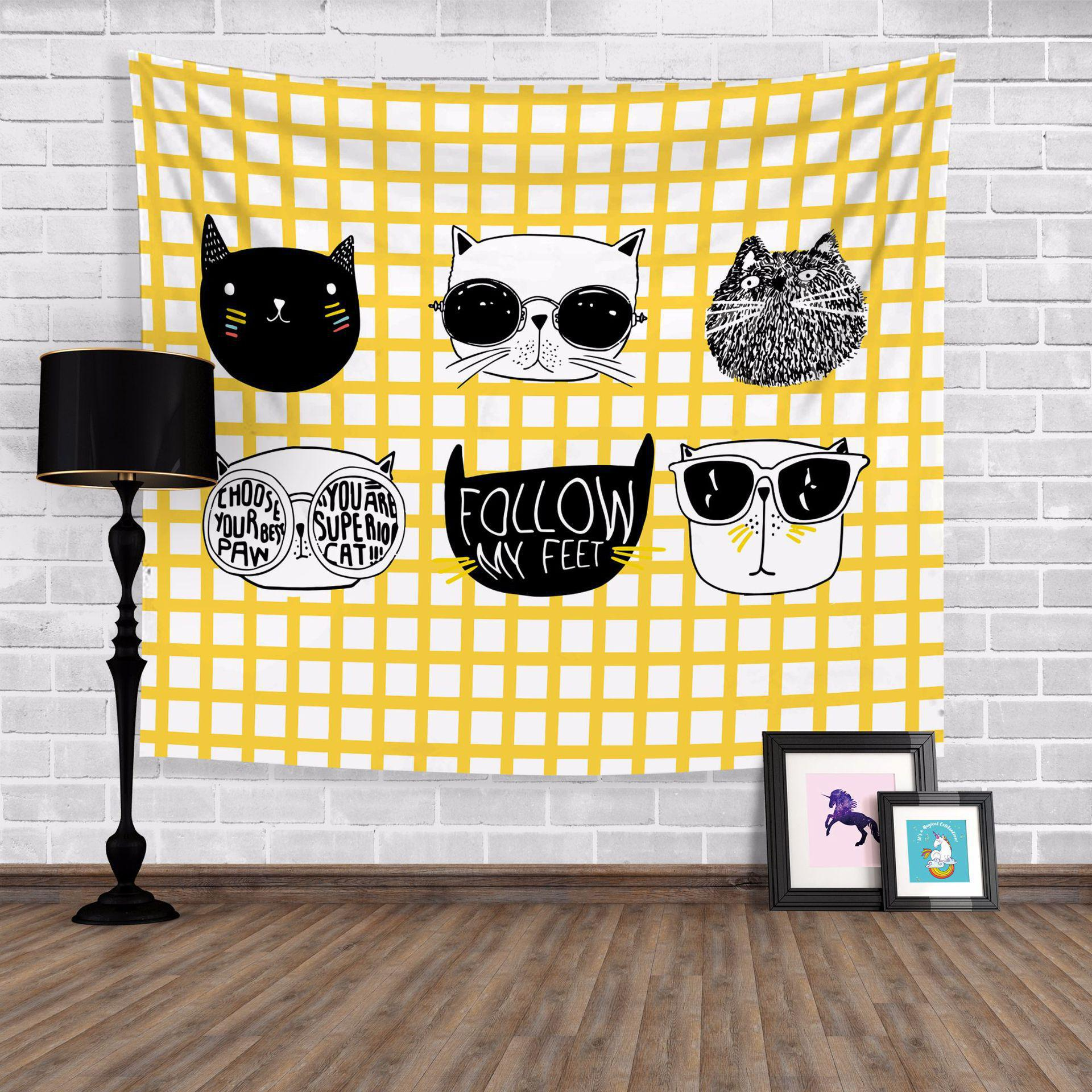 Cute Cartoon Cat Tapestry Eye Glasses Black And White Decoration ...