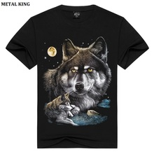 T Shirt Cotton Printed Wolf