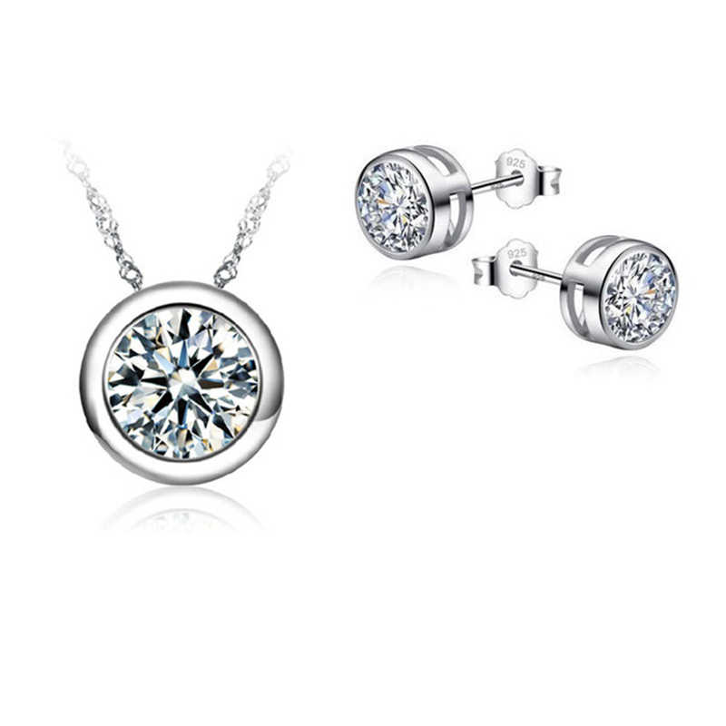 Top Quality Real 925 Sterling Silver  Jewelry Sets For Women Wedding Bridal Pendant CZ Necklace Stud Earrings Sets Bijoux