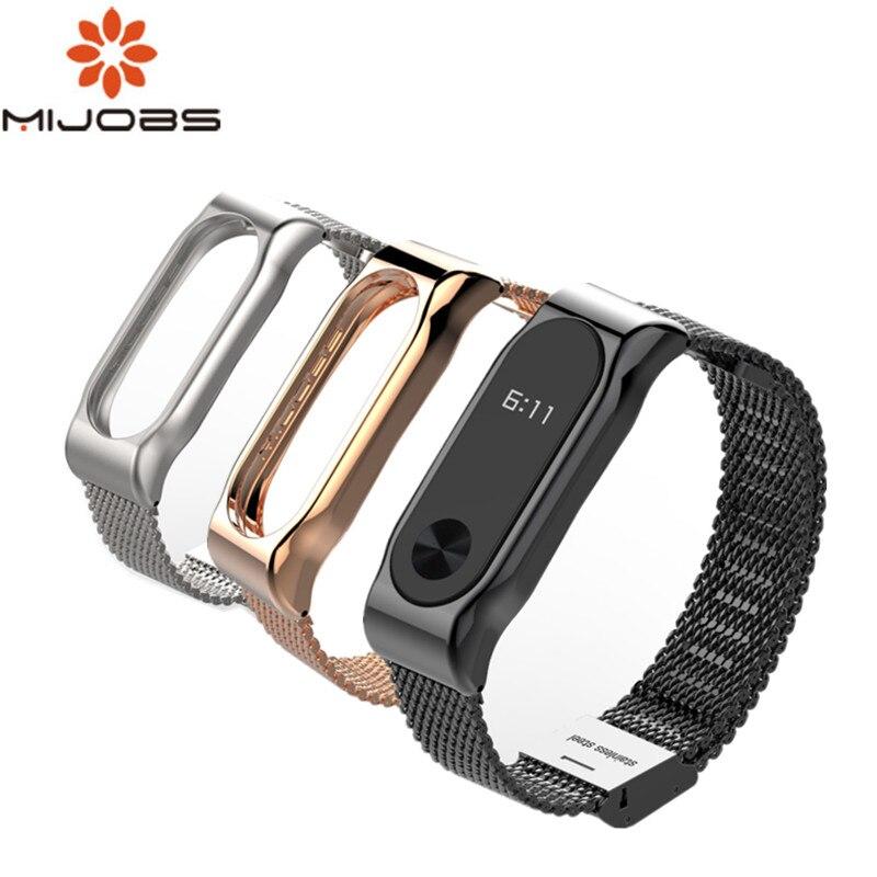Mijobs Mi Band 2 pulsera de Metal para Xiaomi Mi Band 2 pulseras de acero inoxidable sin tornillos accesorios de reemplazo